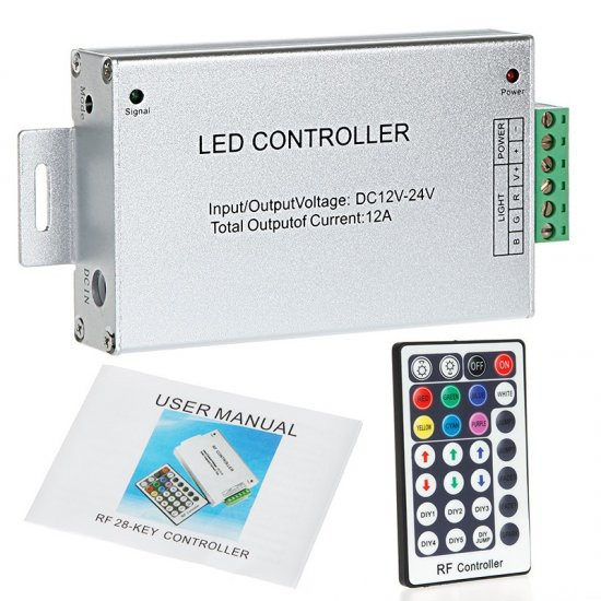 28 Key 12-24V RGB LED Dimmer RF Wireless Remote Controller